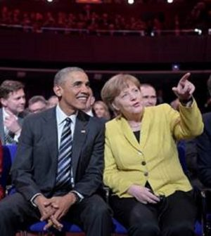 Angela Merkel y Obama en Hannover Messe
