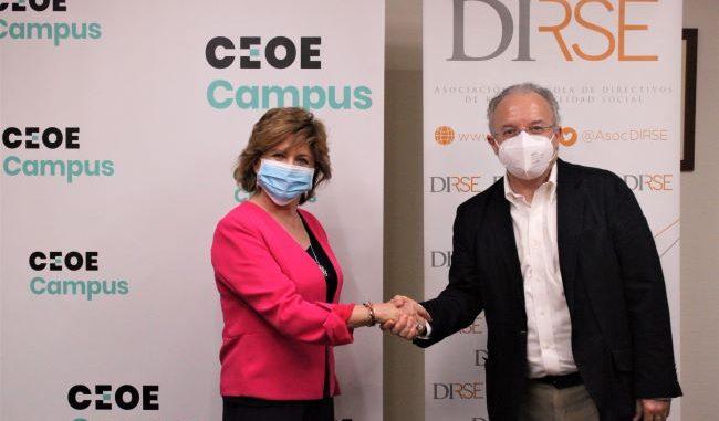 Mª Teresa Gómez Condado, directora general de CEOE Campus, y Alberto Andreu Pinillos, presidente de DIRSE